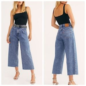 NWT Levi's Ribcage Pleated Crop Wide Leg Jeans